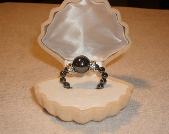 Hematite Ring 4 mm balls with main ball 12 mm, stretchable, all sizes