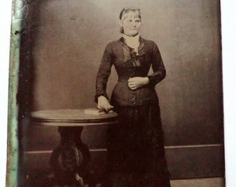 Tintype Photo Younger Woman Posing Next to Table Austere Setting