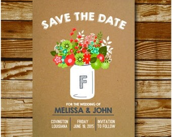 Mason Jar & Flowers Save The Date