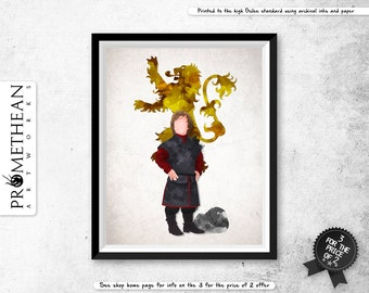 Game of Thrones inspired - Tyrion Lannister vector, mixed media and watercolour / watercolor spatter effect print - 3 FOR 2
