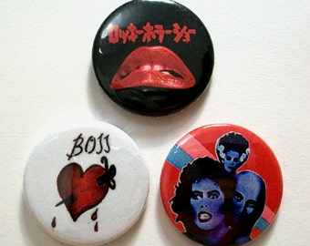 Set of 3 Rocky Horror Picture Show Pin Button Badges