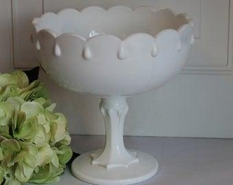 Indiana Milk Glass Pedestal Teardrop Bowl, Milk Glass Compote, Milk Glass Pedestal Bowl, Wedding Decor