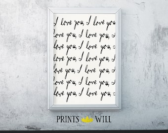 I Love You, Nursery Decor, Typography Print, Nursery Wall Art, Nursery Printable, Printable Quote, Nursery Art, Anniversary Gift