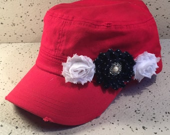 Vintage Red Cap w/Navy & White Floral Accent