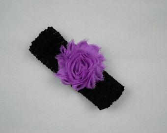 Crochet Headband with Interchangeable Shabby Flower Clip