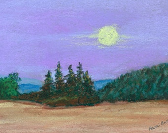 Moon Over the Willamette Original Pastel Landscape Painting
