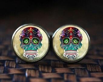Steampunk Sugar Skull cufflinks, Mexican Sugar Skull, Day of The Dead cufflinks, Steampunk cufflinks, Dia De Los Muertos, Skull cuff links