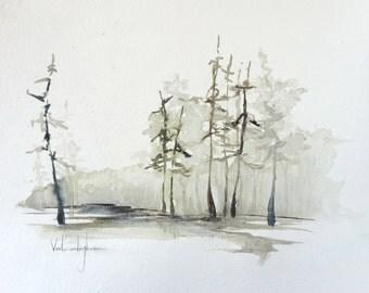 "Original Watercolor Landscape Painting - ""Cypress Trees (2)"""