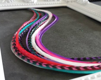 """Feather Hair Extensions * CANDY * 7-12""""+ 10 PACK"""