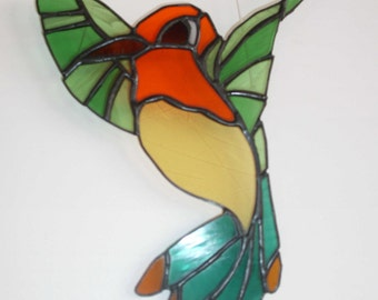 Bird fly stained glass Tiffany
