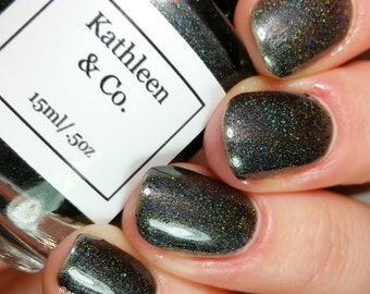 Spaced Out - Black Holo Nail Lacquer with Holo Glitter