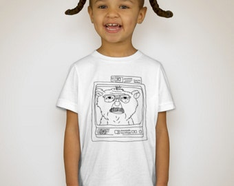 Toddler American Apparel White T-Shirt - Dad as a Teddy Bear on TV