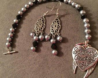 Serenity bracelet with matching earrings