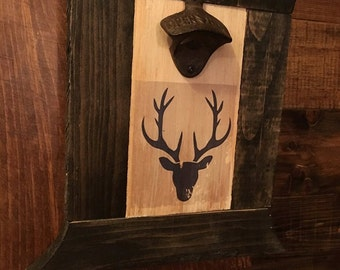 Bottle opener rustic with silhouette of a deer