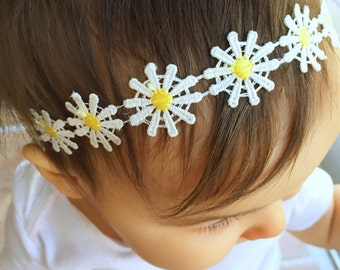 Daisy Halo Headband, baby headband, baby girl, girl toddler, baby gift, newborn photo prop, halo headband
