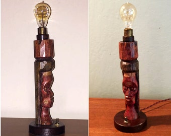 Rustic Woman Totem Accent Lamp