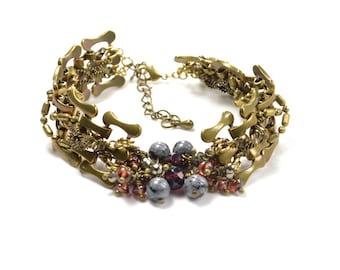 Marsala - brass and precious gemstones bracelet