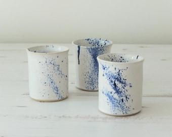 Handmade ceramic beaker, white glaze, cobalt blue spray, water or juice beaker, pottery, handmade gift, housewarming gift