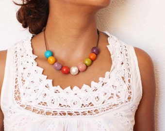 Short necklace Mix colors Tagua nut-Matt sterling silver, made by hand.