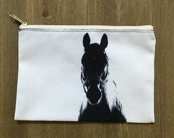 Horse Accessory Bag - Makeup Bag - Cosmetic Bag - Black & White - Gifts for Horse Lovers - Valentines Day Gifts For Her - Equine