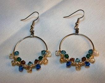"Swarovski Crystal Wire-wrapped ""Lakeshore"" Silver Hoop Earrings"