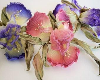 Silk flowers Iris, iris hair clip, bridal headpiece, silk iris brooch, silk iris, flower accessories, wedding flowers, Floral Head Piece