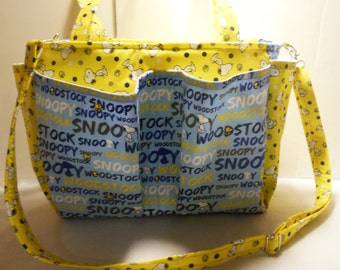 Large Peanut's Snoopy and Woodstock Diaper Bag or Tote, Peanuts Baby Bag, Snoopy Diaper Bag, Snoopy Tote, Woodstock Diaper Bag, Peanuts Bag