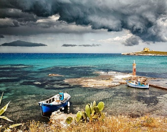 Portopalo Sicily, Sicily Travel Photo,  Turquoise Water, Stormy Sky, Sicily Wall Decor, Large Wall Art, Fine Art Photo, Sicily Seascape