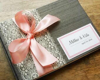 Custom Light Pink and Silver Guest Book