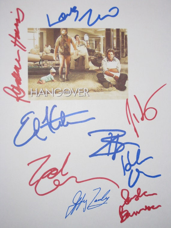 The Hangover Signed Film Movie Screenplay Script Autograph Bradley Cooper Zach Galifianakis Ed Helms Sasha Barrese Ken Jeong Heather Graham