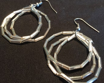 Silver Beaded Hoop Earrings / Item # 383