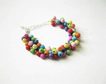 Colourful Rainbow Cluster Bracelet