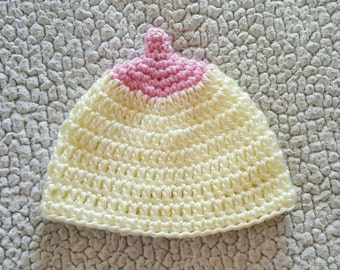 Crochet Boobie Beanie, crochet breastfeeding hat, newborn breastfeeding photo prop, newborn photography prop, newborn boobie beanie