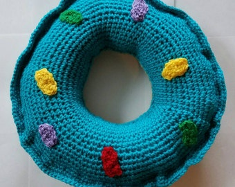 Crochet donut pillow, crochet donut, crochet pillow, donut pillow