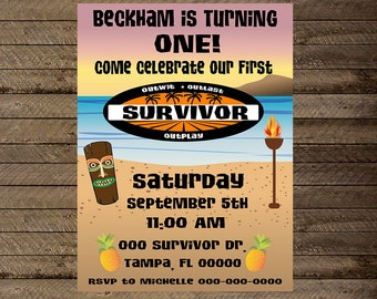 Survivor theme first birthday party, survivor invite, first birthday party invite, invitation, survivor invite, survivor invitation, luau