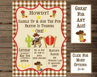 cowboy invite, cowboy invitation, cowboy theme birthday, boys cowboy birthday, western party, cowboy theme, western theme, ranch, first bday