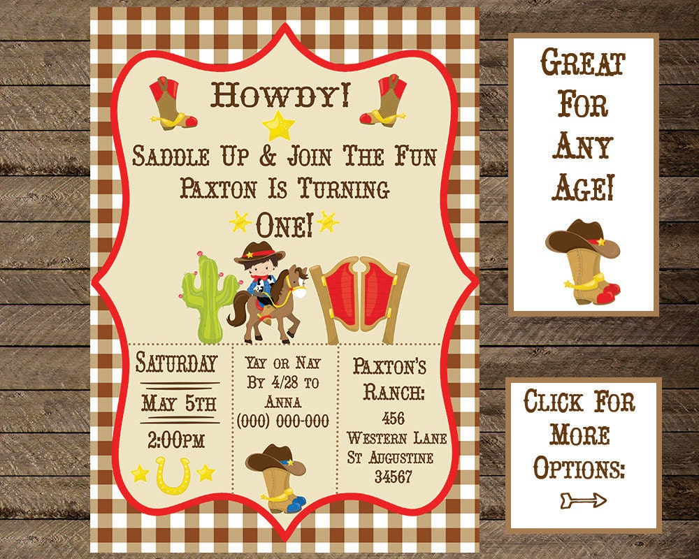 Cowboy invitations – Western Themed Party Invitations