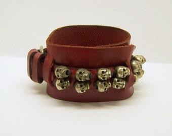 leather silver plated skull bracelet