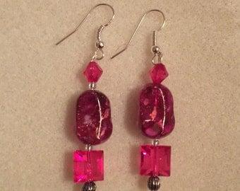 Raspberry Rock Earrings