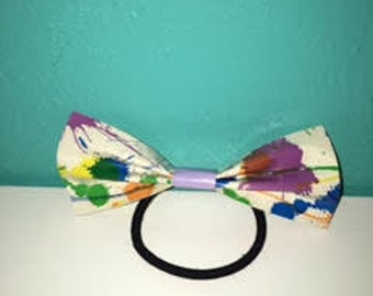 splatter paint and tie die duct tape hair bows