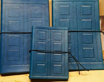 Handmade leather Refillable Journal notebook cover TARDIS DR. Who River Song Phone box pocket A5 composition