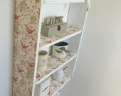 70 cm H x 54 cm W Pine White Shabby Chic Bird Cage Shelves with Cup Hooks Kitchen Bedroom Bathroom Shelves.