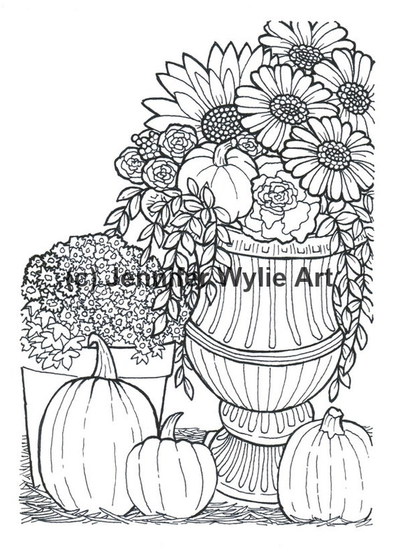 Autumn Flower Adult Coloring Page