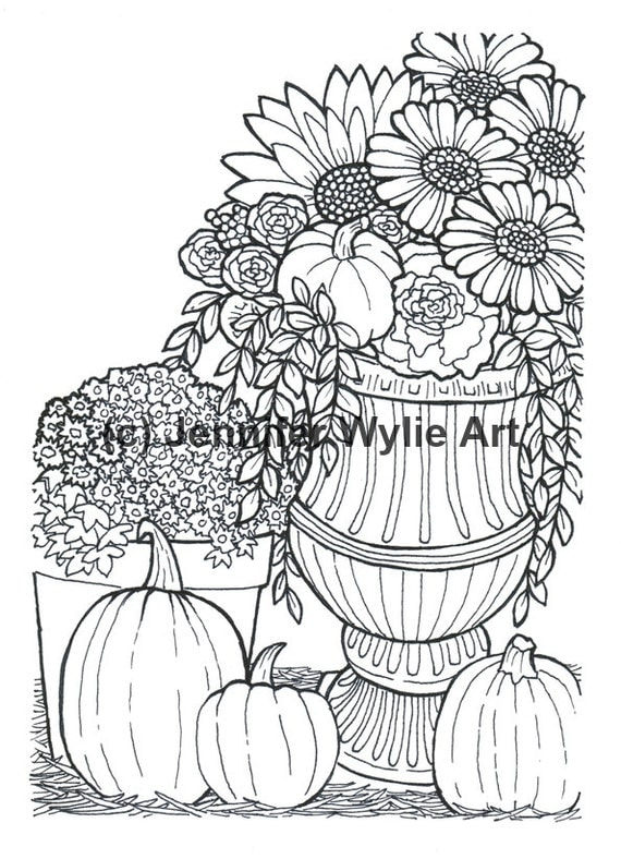 Autumn Flower Adult Coloring Page Colouring Page Coloring