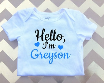 Personalized Baby Outfit, boy onesie, Hello baby clothes, Name baby clothing,Baby Shower Gift, Baby Clothing, Baby Boy home coming