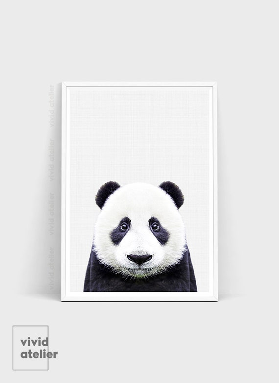 Panda wall print panda poster panda bear nursery by for Panda bear decor