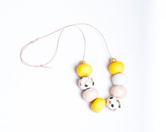 Yellow Gold Polymer Clay Necklace Hand & Clay
