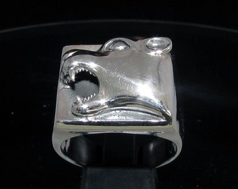 Sterling silver Animal ring head Panther on square