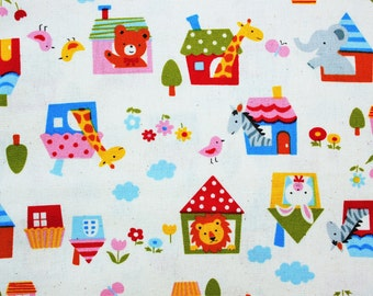 Japanese Fabric, Kawaii Fabric, Children Fabric, Animal House, Cotton, Dusty White, Craft Sewing Quilting Dressmaking Supplies, Half Metre