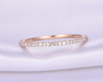Full Eternity diamond Wedding ring,1.2mm width Petite THIN band,Anniversary ring,14k Rose gold,Matching Band,Infinity Ring,Gift for her